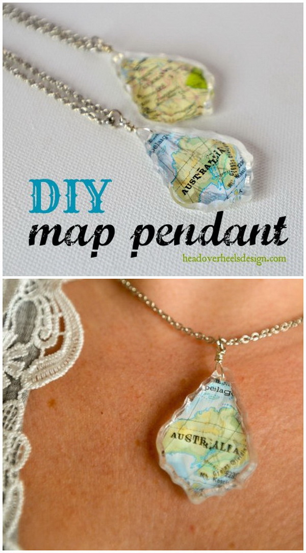 Handmade Map Pendant Necklace. This custom map pendant is personalized with any map of your choice and makes the perfect gift!
