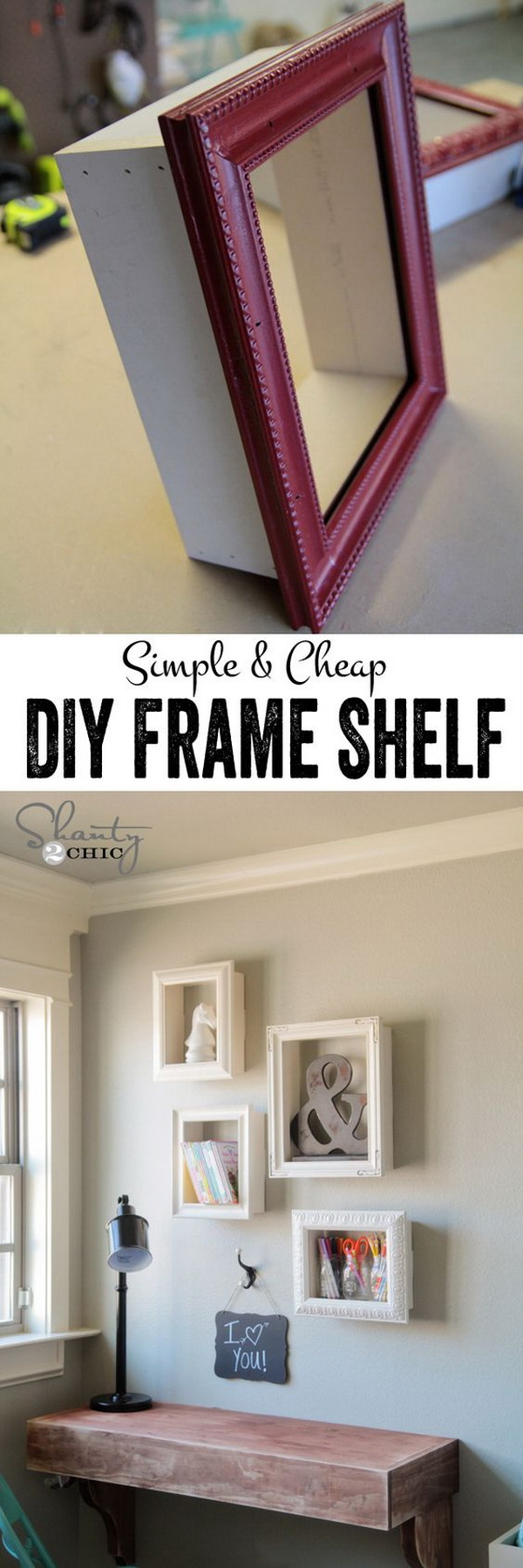 DIY Frame Shelves. Recycle the old frames into these creative shelves for display or storage!