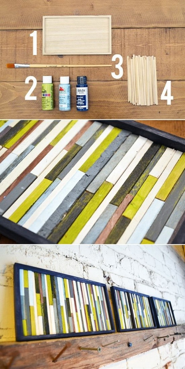 Framed Paint Sticks Wall Art. Make this simple but stunning wall art project with painted paint sticks. They would look amazing on your mantel.