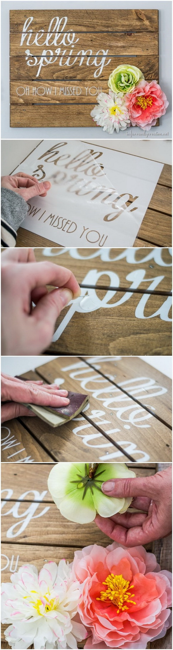 DIY Rustic Spring Sign. Create a lovely and sweet rustic spring sign to sit on the mantle and welcome spring.