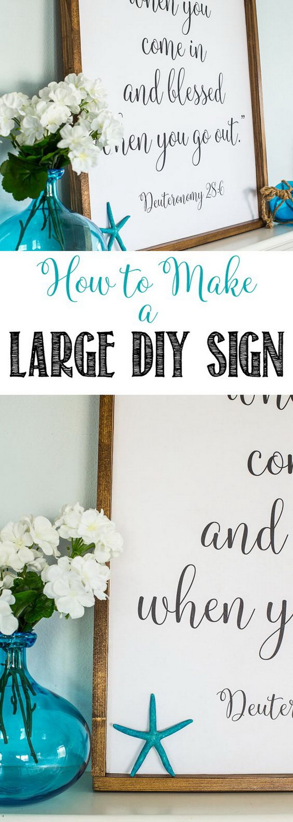 Large DIY Mantel Sign. It is time to put away your drab winter decor and give your home a fresh new makeover for summer with this nautical DIY framed sign! Perfect for your mantel decor this spring or summer season!