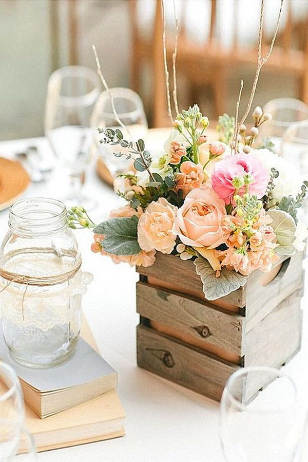 Shabby chic vintage wedding table centerpiece decor.