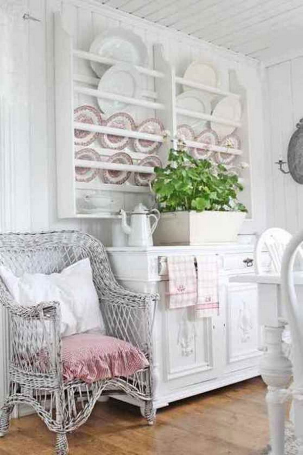 Shabby chic dishware display.