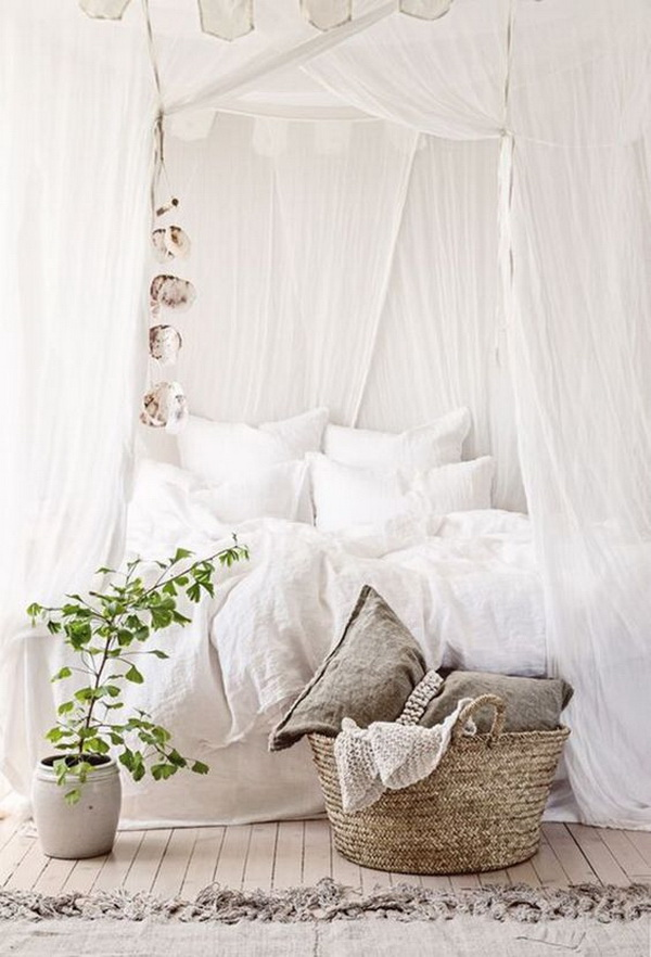 All white shabby chic bedroom.