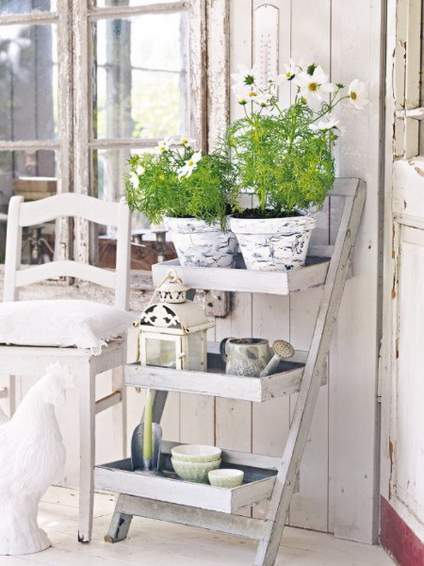 Shabby chic ladder display shelf.