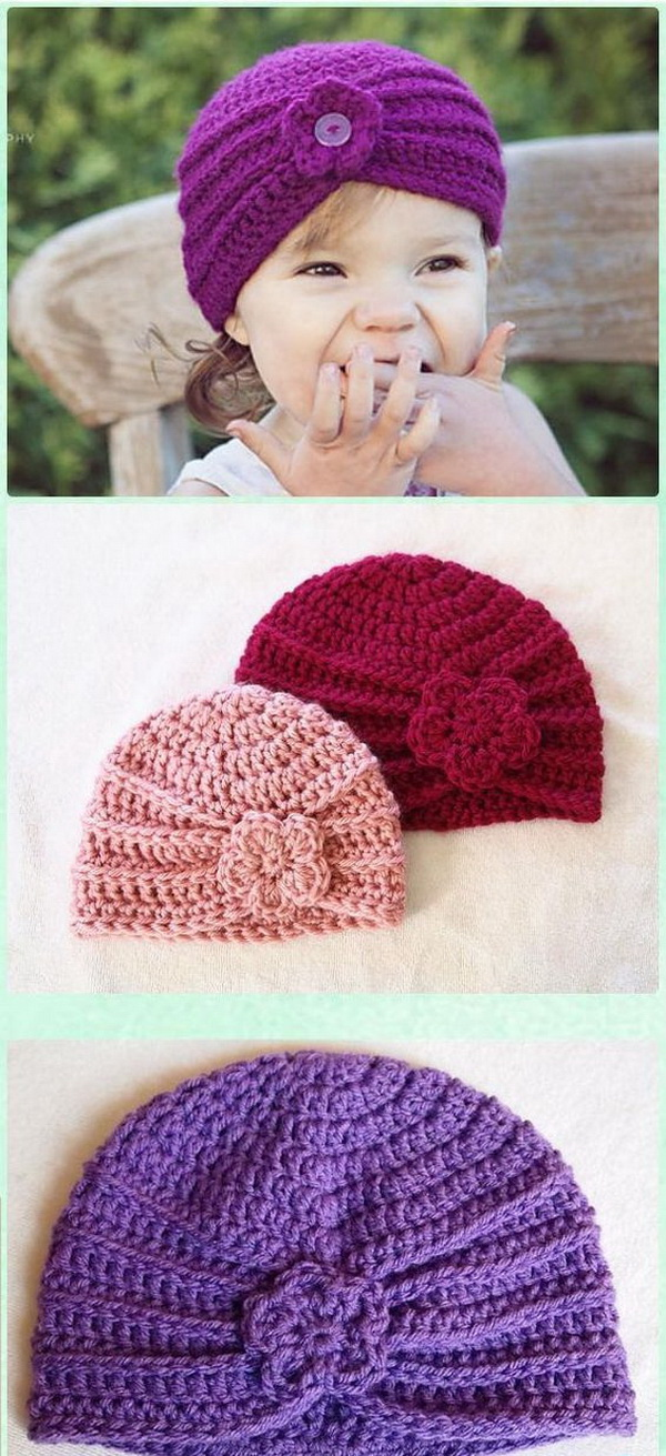 Crochet Turban Hat Free Patterns. Bring a pop of fun color to crochet this simple and easy crochet baby turban for your little ones.