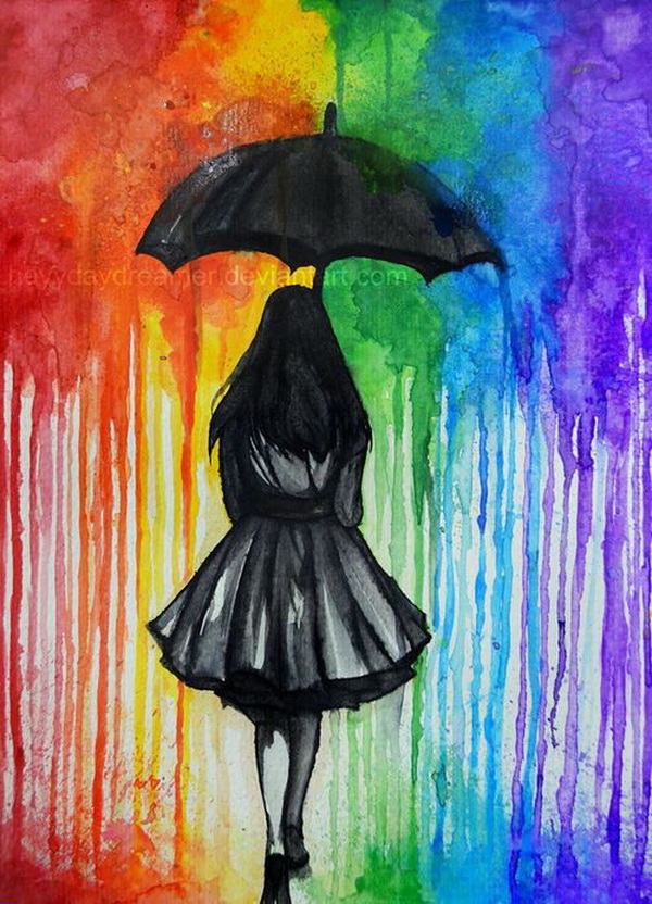 Fantastic Melted Crayon Art Ideas. Walking in The Rain.