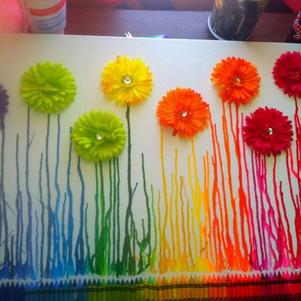 Fantastic Spring Flowers Melted Crayon Art Ideas.
