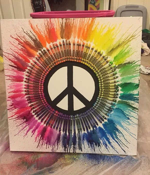 DIY Peace Sign Melted Crayon Art.