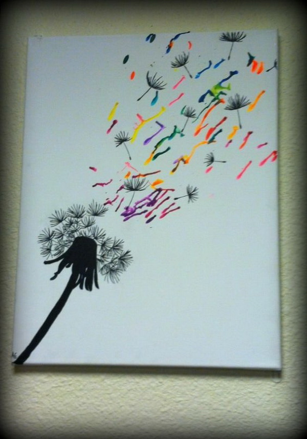 Dandelion Seeds Blowing Away. Fantastic Melted Crayon Art Ideas.
