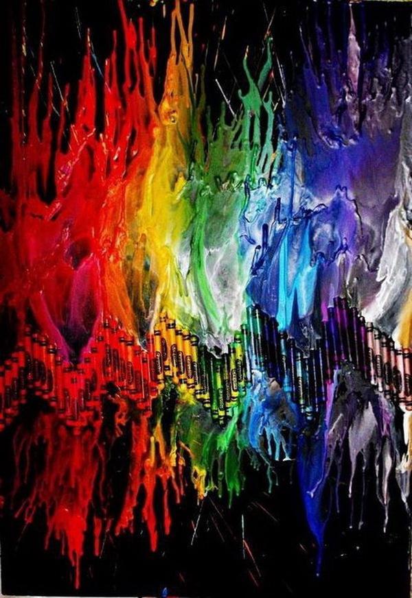 Fantastic Rainbow Melted Crayon Art Ideas.