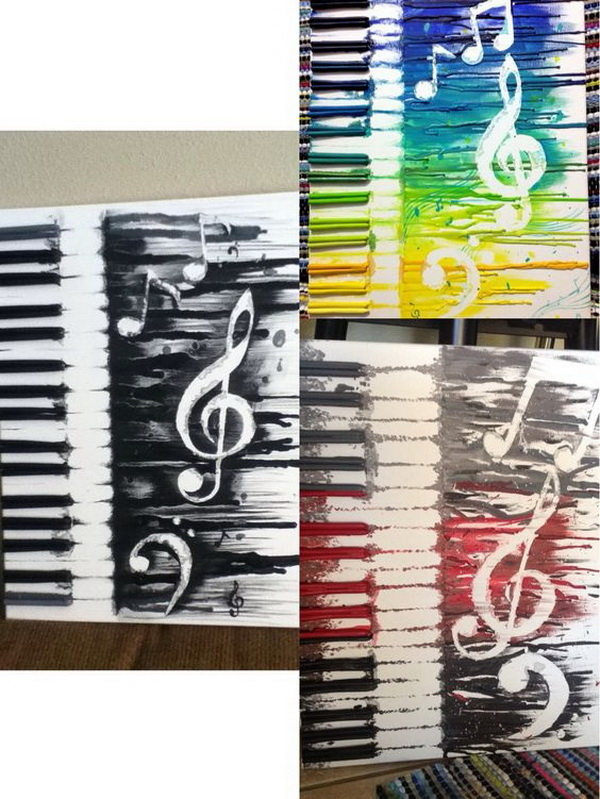 Abstract Music Crayon Art.