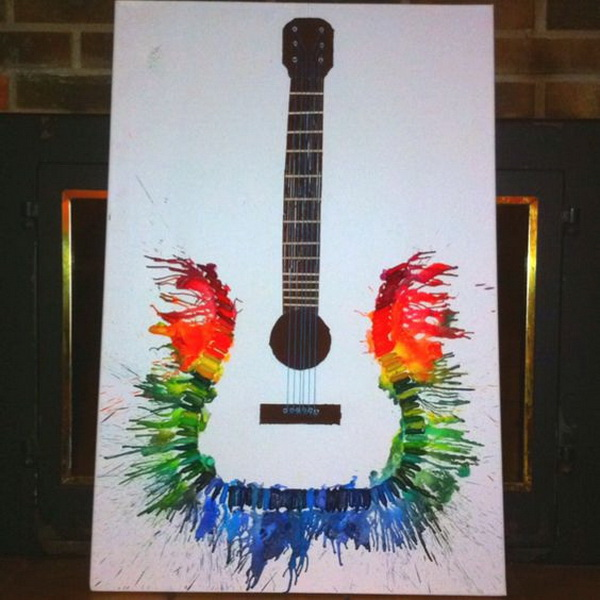 Fantastic Melted Crayon Art Ideas---Melted Crayon Guitar.