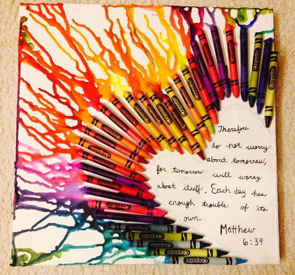 DIY Crayon Melting Canvas Art.