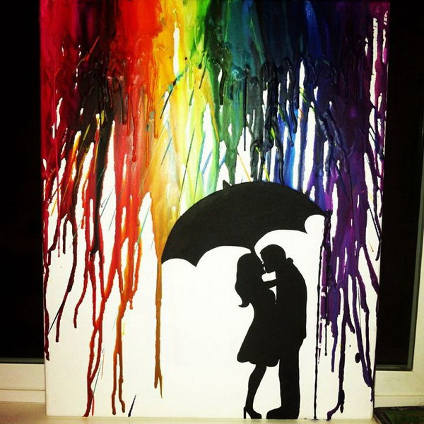 Silhouette Couple Kissing. Fantastic Melted Crayon Art Ideas.
