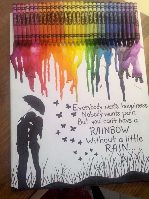 Romatic Couple Kissing. Fantastic Melted Crayon Art Ideas.