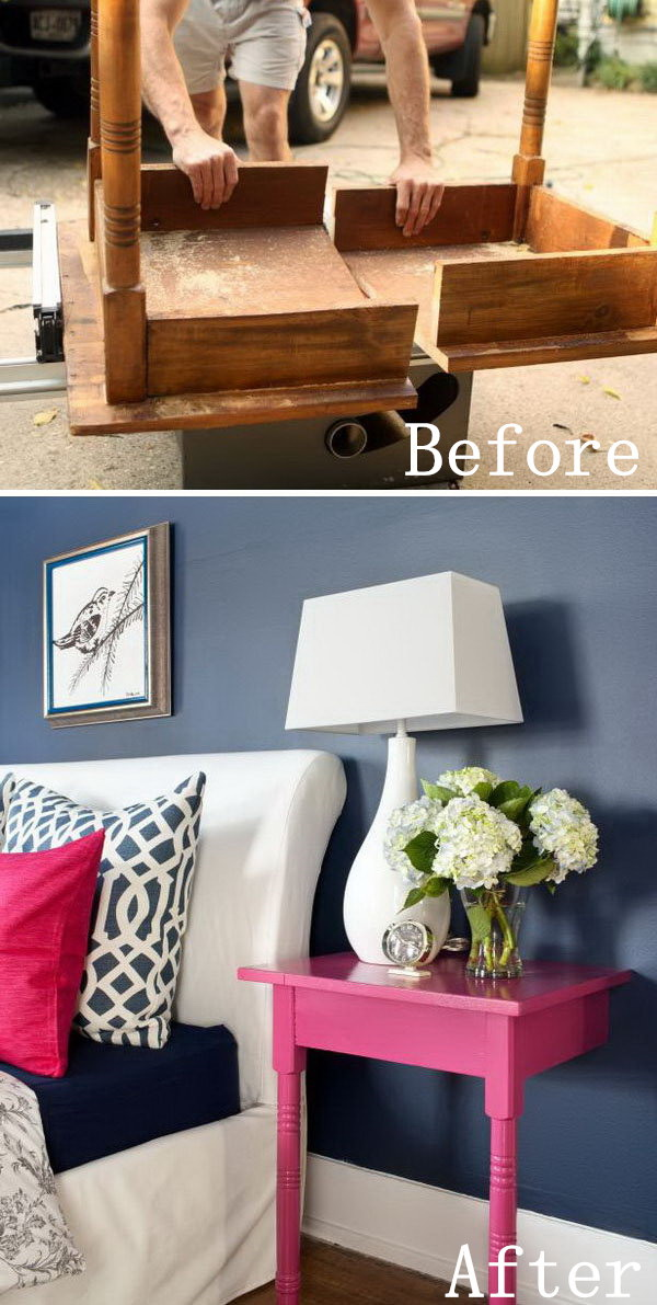 DIY Furniture Makeovers: Unused Table Repurposed into Nightstands.