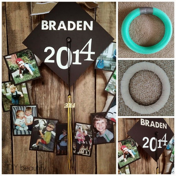 Graduation Photo Wreath. A unique and beautiful way to display your photos during the college by make this photo wreath.