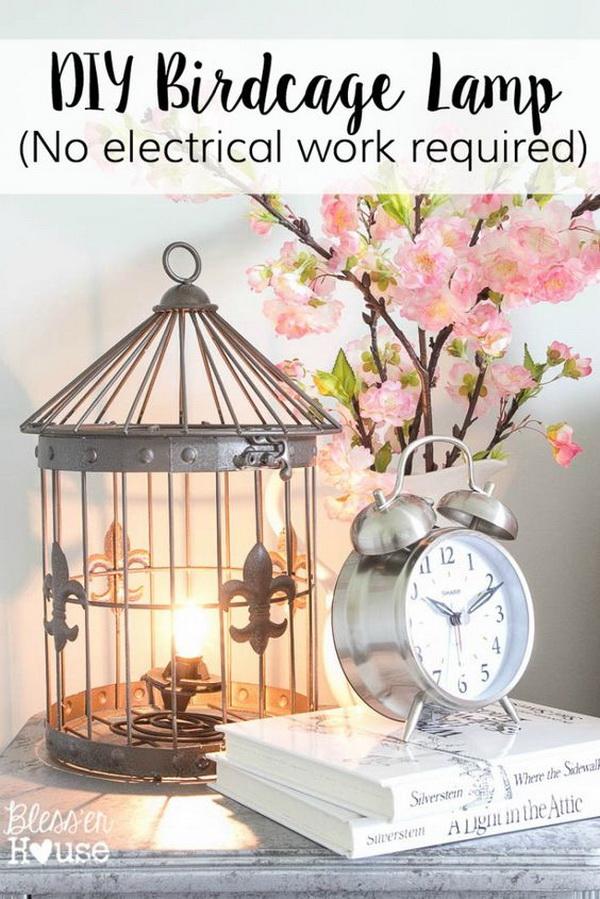 DIY Birdcage Lamp.