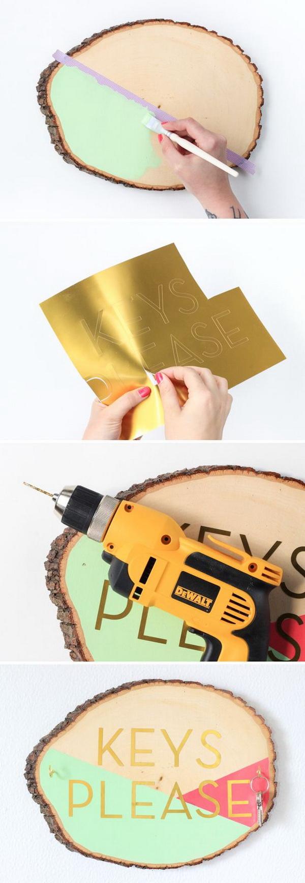 DIY Wooden Slab Key Holder.