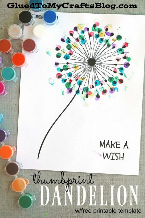 Easy Kids Craft Ideas: Thumbprint Dandelion Kid Craft.