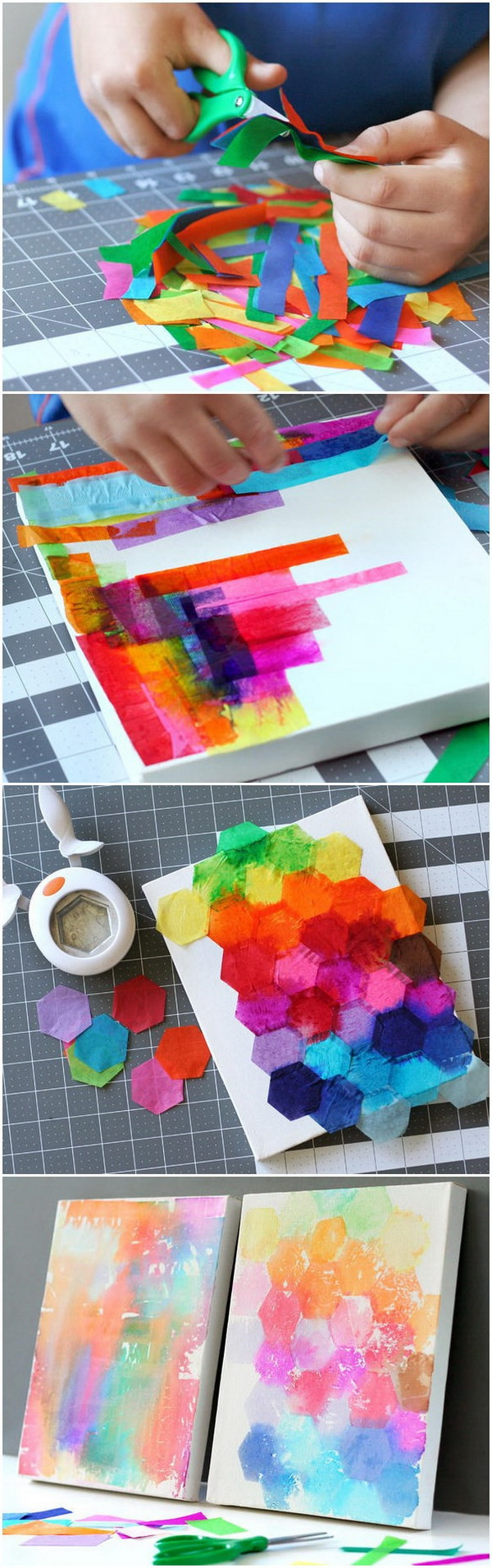 Easy Kids Craft Ideas: Tissue Painted Canvas.