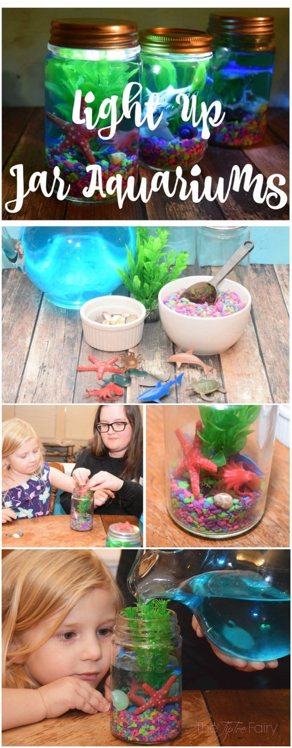 Easy Kids Craft Ideas: Light Up Mason Jar Aquariums.