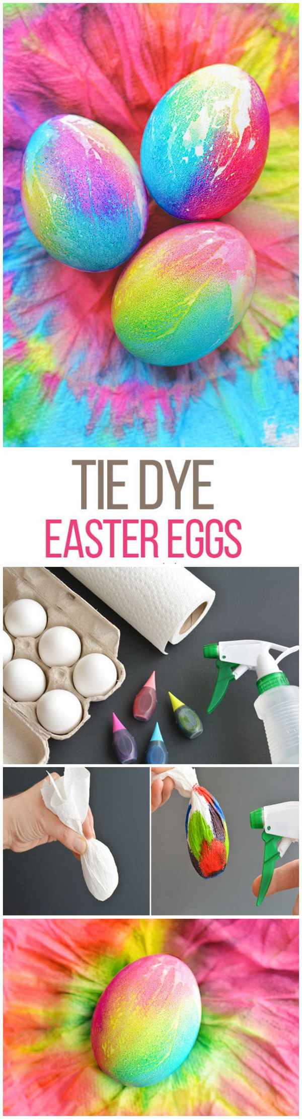 Easy Kids Craft Ideas: Tie Dye Easter Eggs Using Paper Towels.