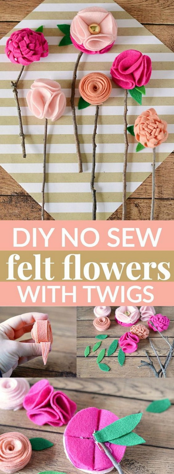 Easy Kids Craft Ideas: DIY No Sew Felt Flowers With Twigs.