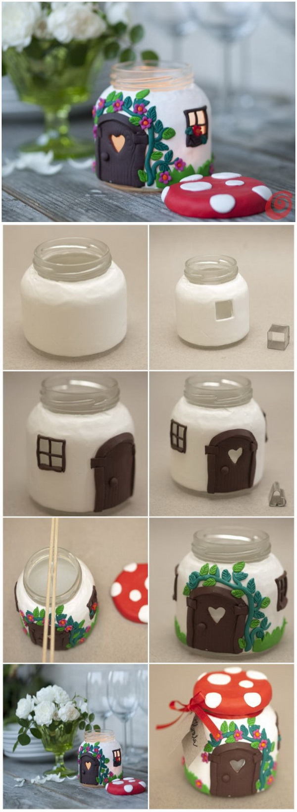 Easy Kids Craft Ideas: DIY Jar Mushroom House.