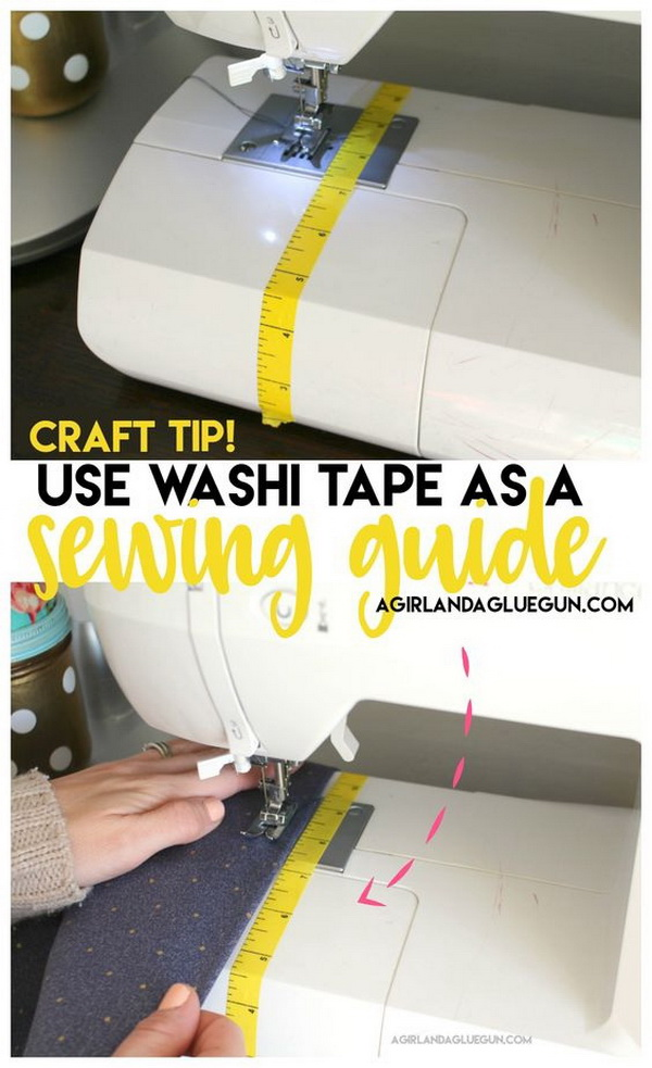 Sewing Hacks: Washi Tape as a Sewing Guide.