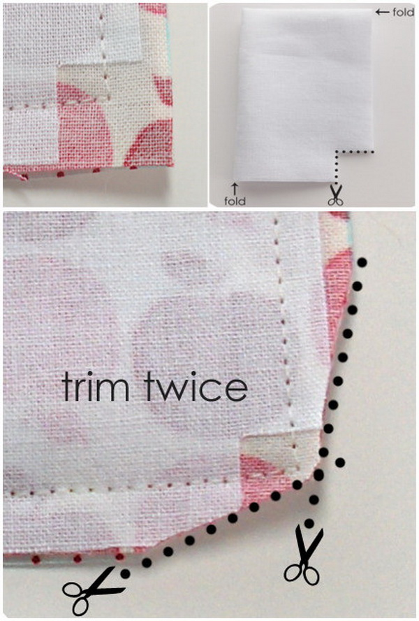 Sewing Hacks: Trim Edges Of Your Corner Seams Before Turning Inside Out.