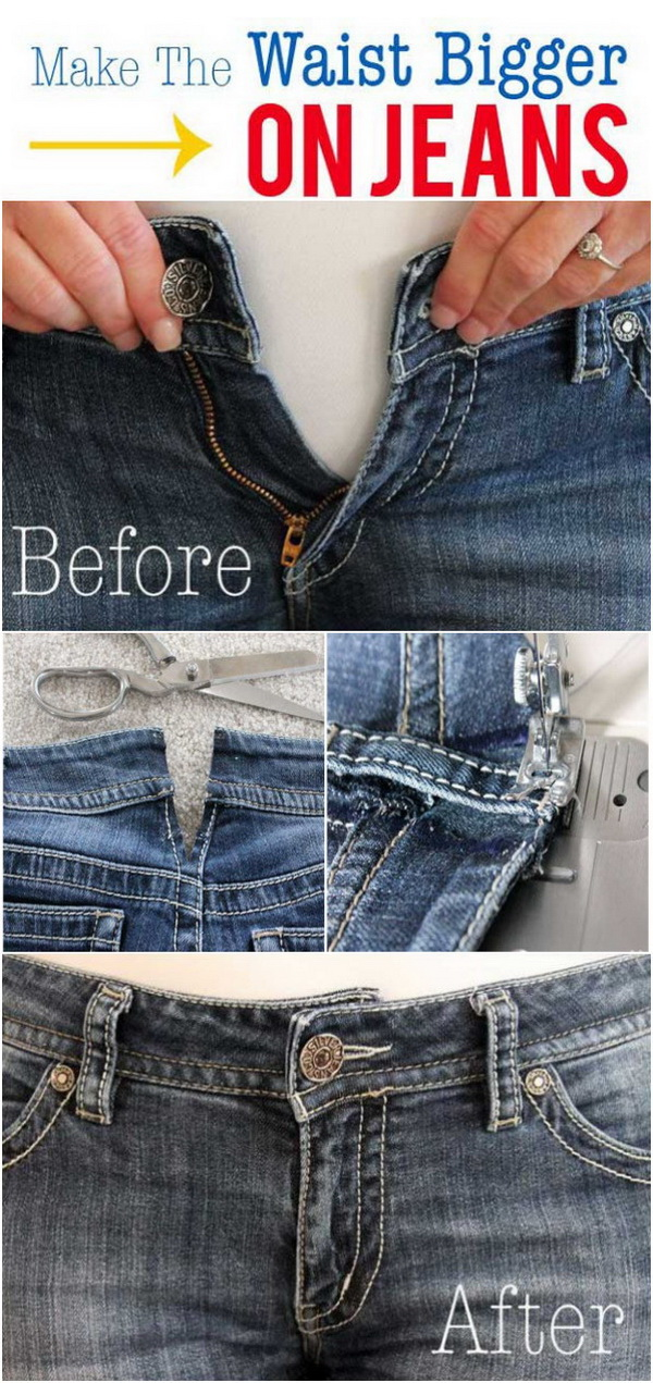Sewing Hacks: How To Make The Waist Bigger On Jeans.