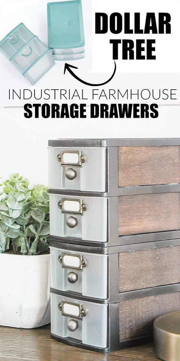 Dollar Store DIY: Industrial Farmhouse Storage Drawers.