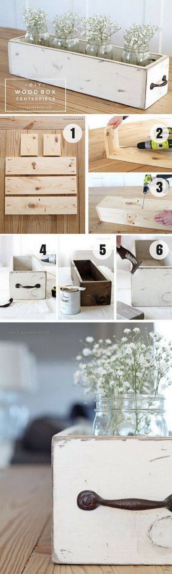DIY Wood Box Centerpiece.
