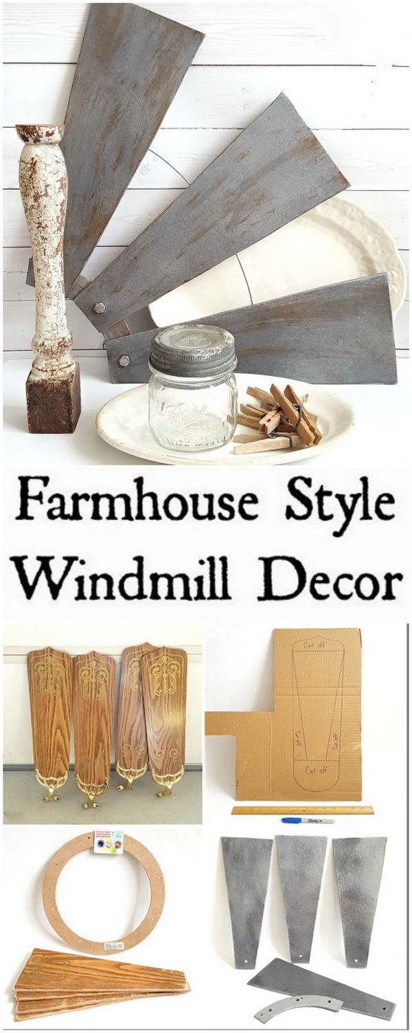 Farmhouse Style Revamped Ceiling Fan Blades.