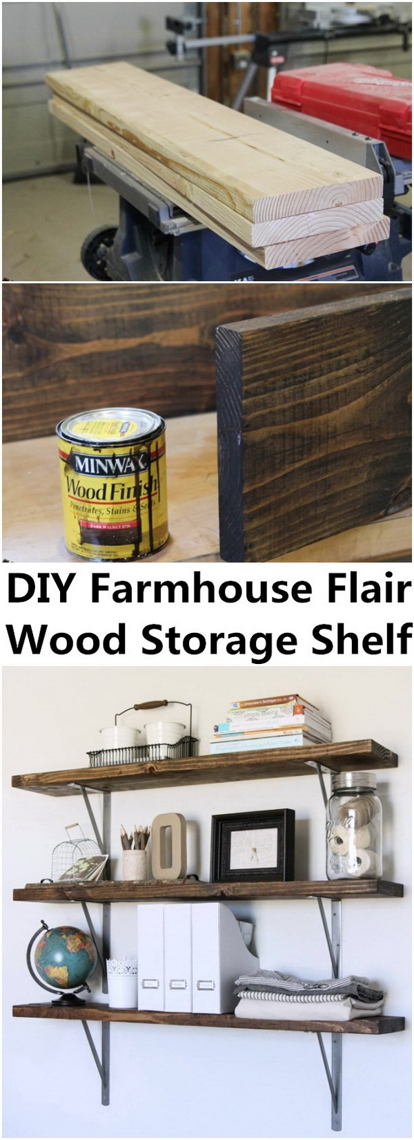 Farmhouse Flair DIY Wood Storage Shelf.
