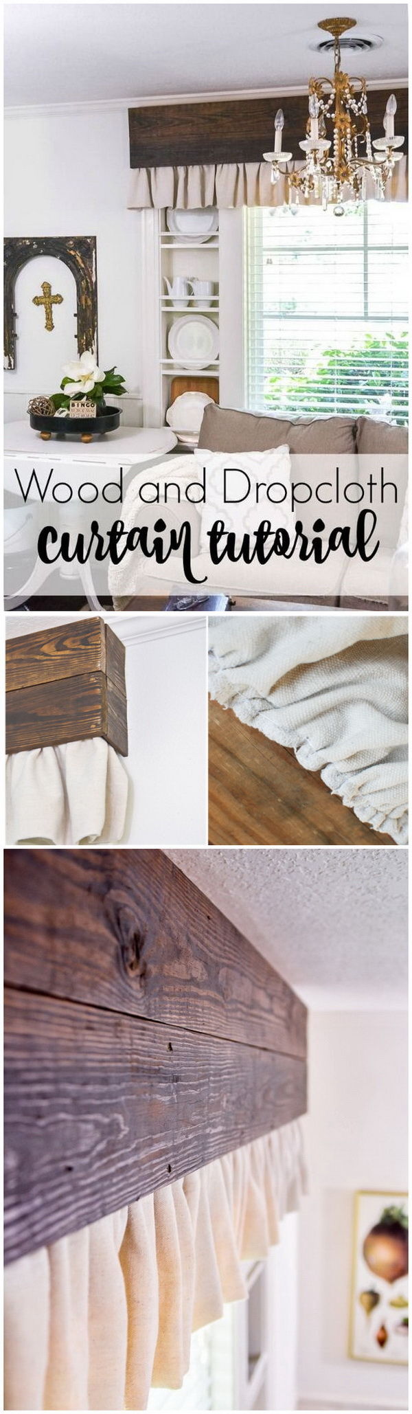 DIY Wood Valance and Dropcloth Curtains.