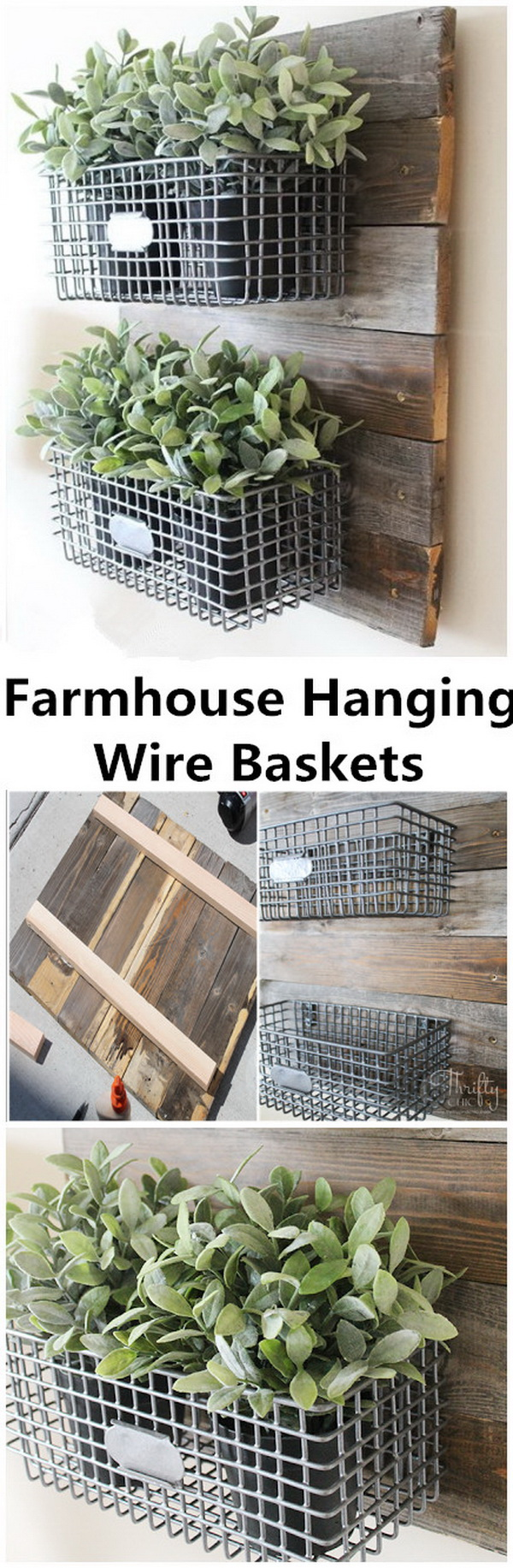 DIY Wood and Wire Baskets Wall Organizer.