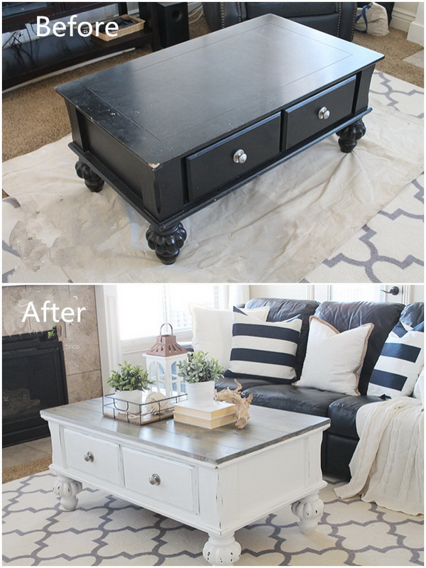 Attractive Farmhouse Style Coffee Table Makeover
