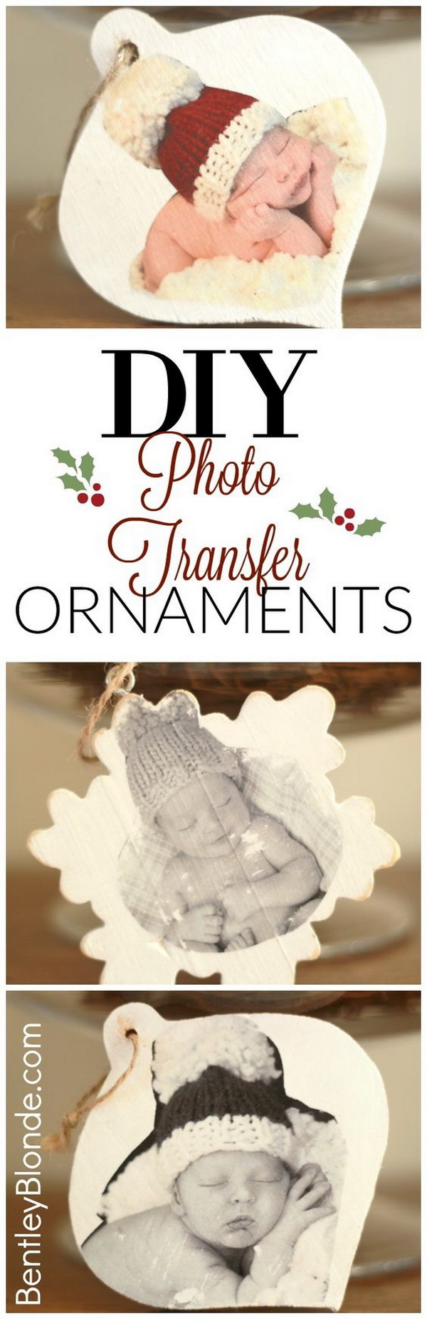 DIY Wood Christmas Ornaments with Photo Transfer.