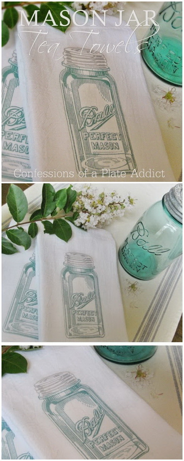 Easy Mason Jar Tea Towels.