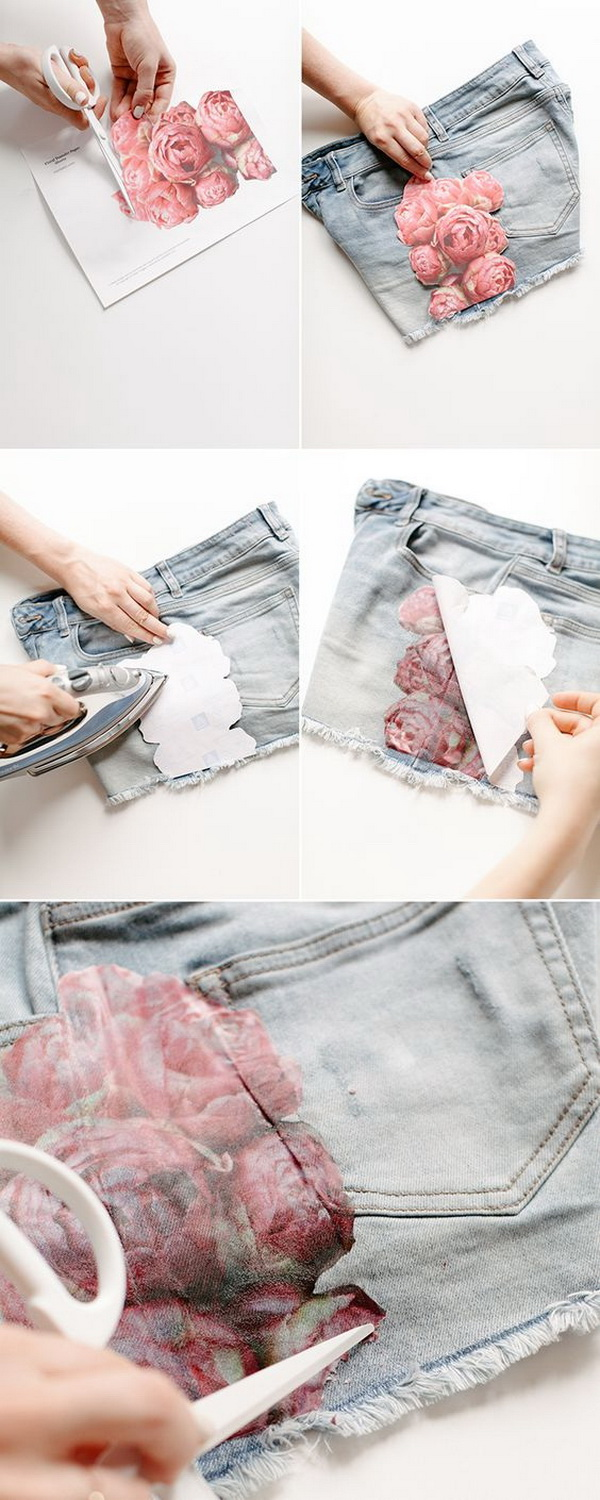 DIY Floral Photo Transfer for Shorts.