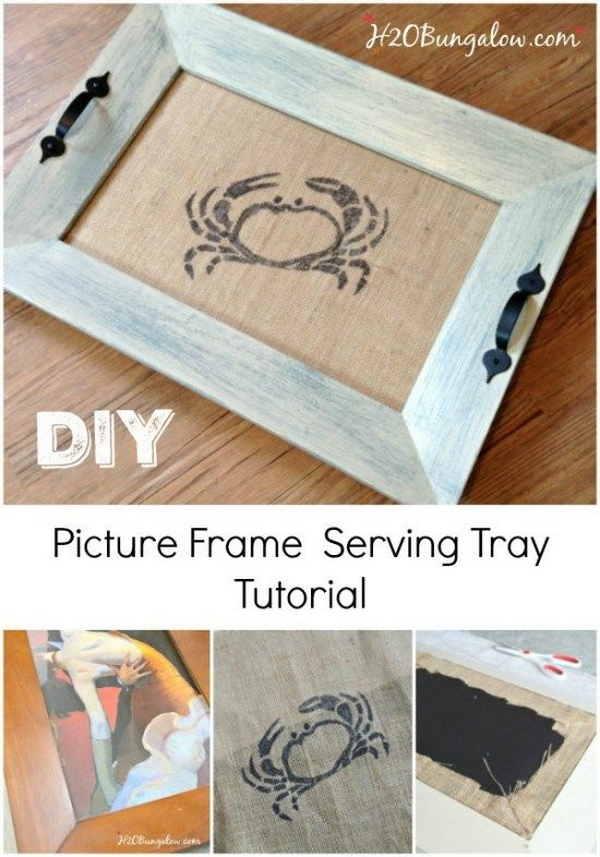 DIY Coastal Picture Frame Serving Tray.