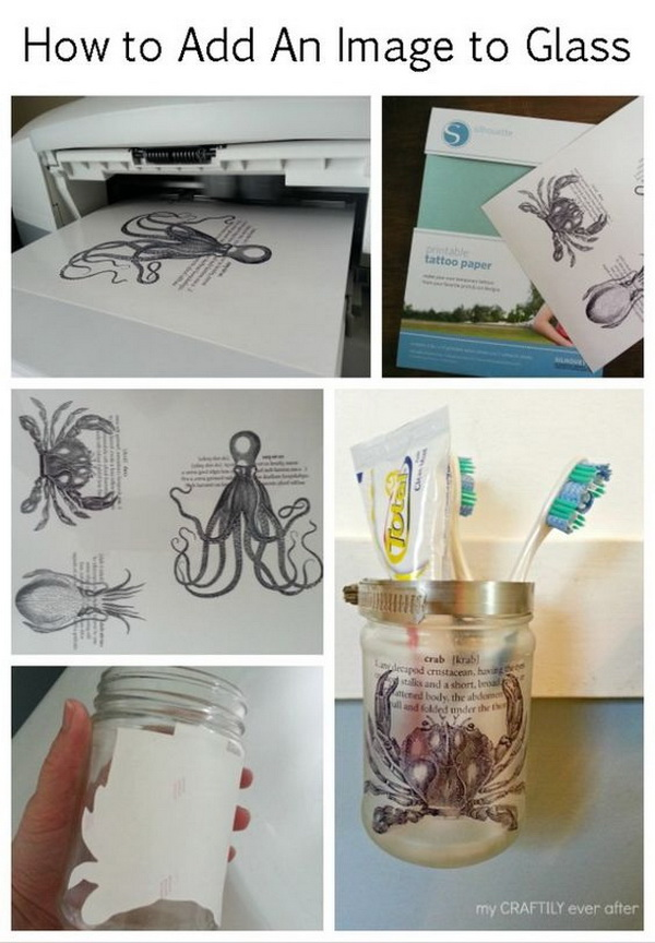How to Transfer An Image To Glass Using Tattoo Paper DIY.