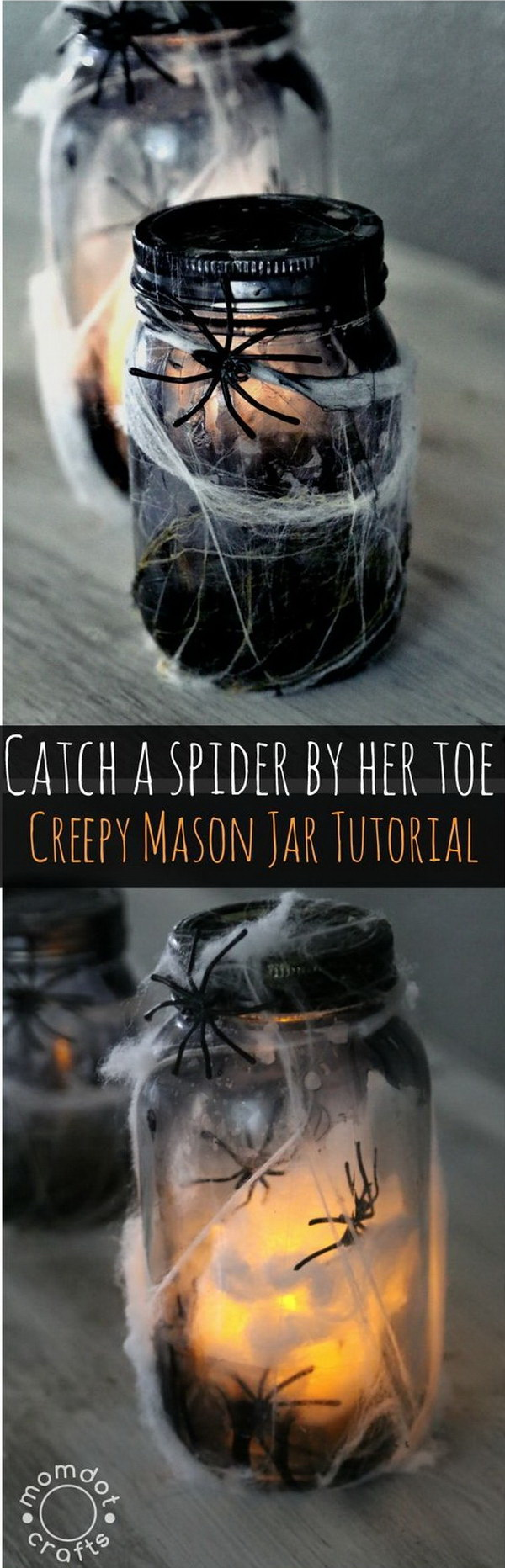 DIY Creepy Light Up Spider Jar.