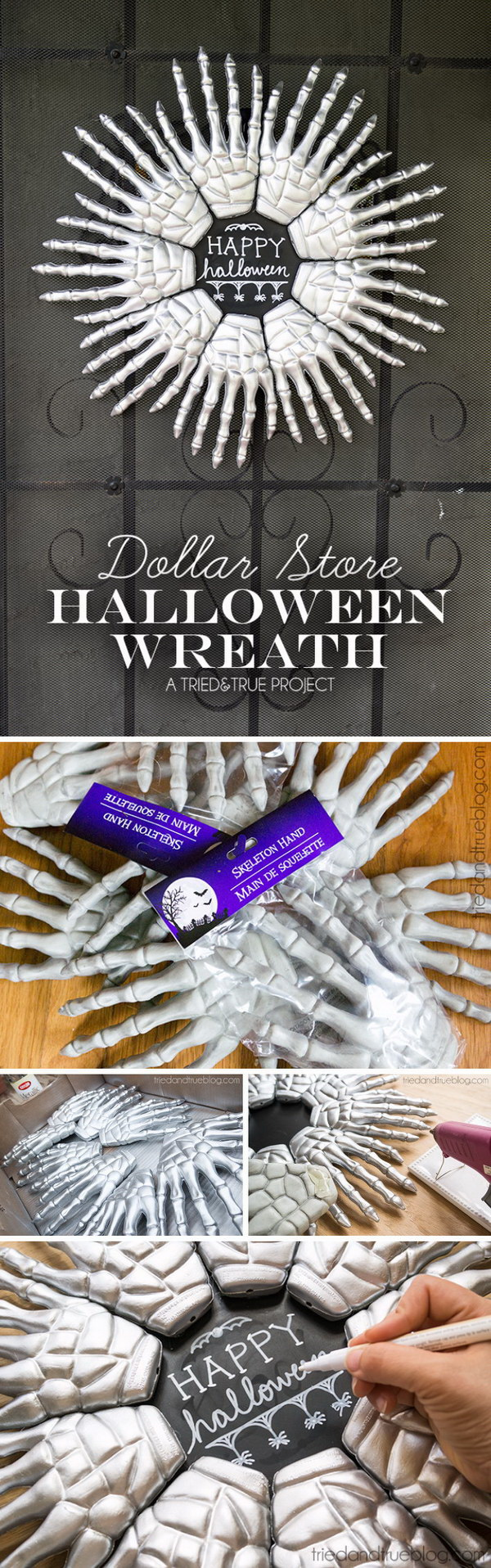 Dollar Store Halloween Wreath.