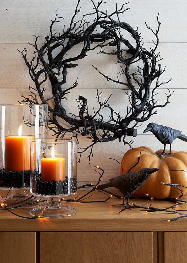Image result for birch branches in vase for halloween on mantle