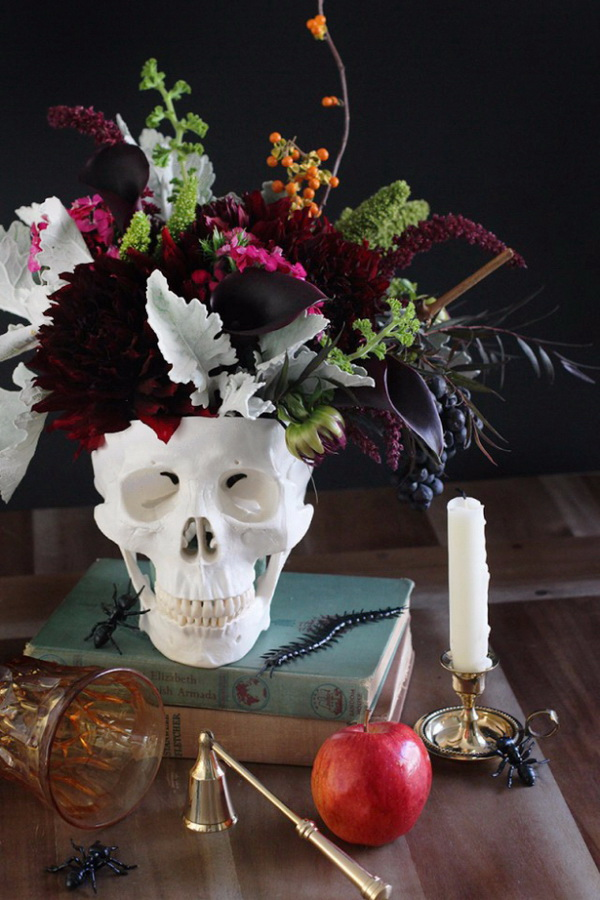 DIY Floral Skull Centerpiece.