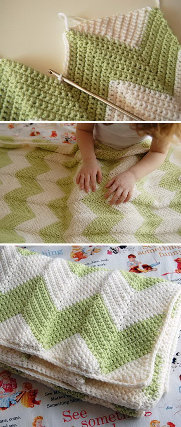 Quick And Easy Crochet Blanket Patterns For Beginners: Chevron Baby Blanket With Straight Edge. .